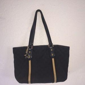 Auth GUCCI monogram GG logo black small tote Bag